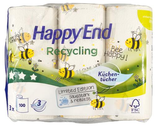Happy End Recycling Küchentücher Bee Happy!