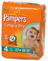 Pampers Simply Dry Windeln Größe 4, Maxi, 7-18 kg